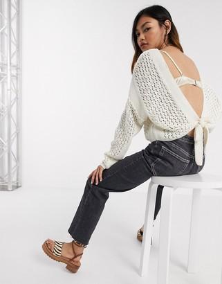ASOS DESIGN mock crochet tie back sweater