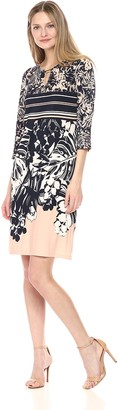 Ronni Nicole Women's 3/4 Sleeve Key Hole Neck Printed Jersey Dress