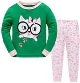 Yzjcfriz Girls Pjms Long Sleeves Toddler Ct with Glsses Kids Pjs Sleepwer 2 Piece
