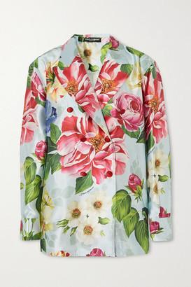 Dolce & Gabbana Oversized Double-breasted Floral-print Silk-satin Blazer - Blue