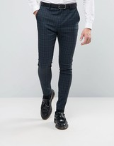 Selected Super Skinny Suit Pants In Check