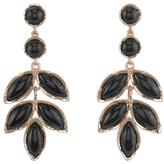 Irene Neuwirth Large Leaf Earrings with Black Onyx and Cabochons