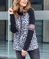 Luukse Women's Tunics 101BLACK - Black & White Leopard Print Stripe Cowl Neck Pullover - Women & Plus