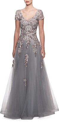 La Femme Embroidered & Beaded Ballgown