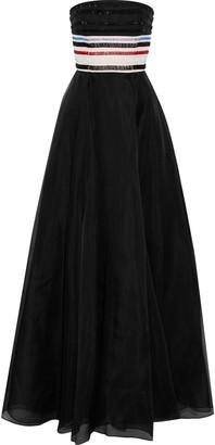 Carolina Herrera Strapless Bead-embellished Silk-organza Gown