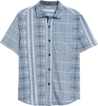 Tommy Bahama Bay Street Blues Short Sleeve Silk Button-Up Shirt