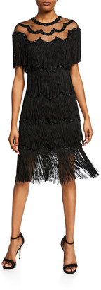 Naeem Khan Nk32 Beaded Fringe Dress w/Sheer Yoke