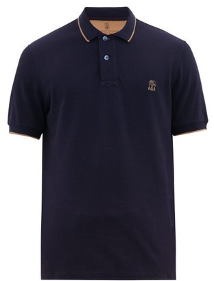 Brunello Cucinelli Logo-embroidered Cotton-pique Polo Shirt - Mens - Blue