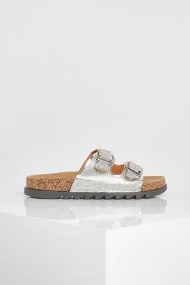 boohoo Wide Fit Metallic Double Buckle Sandals