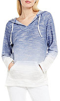 Vince Camuto Two by V-Neck Long Sleeve Ombre Terry Hooded Pullover