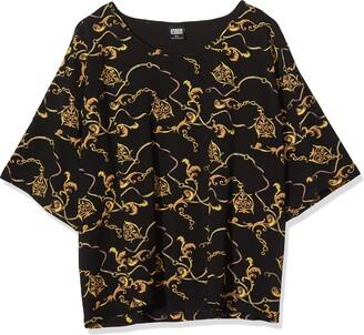 Urban Classics Women's Oberteil Ladies Print Short Oversized Tee T-Shirt Black Black 02356 4X-Large
