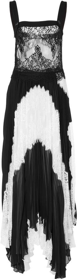 Givenchy Asymmetric Silk-Georgette and Lace Maxi Dress