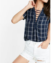 Express plaid lace-up tee