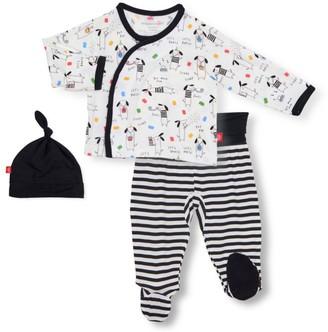 Magnetic Me Baby Boy's Raise The Woof 3-Piece Hat, Dog Cardigan & Footie Leggings Set