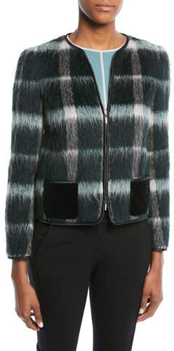Emporio Armani Zip-Front Plaid Mohair Jacket w/ Velvet Pockets