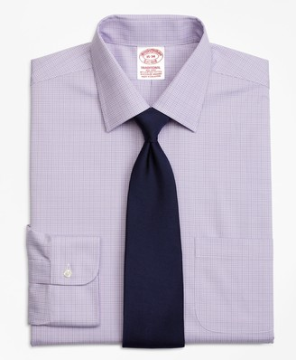 Brooks Brothers Stretch Traditional Relaxed-Fit Dress Shirt, Non-Iron Glen Plaid