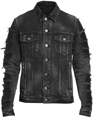 Balmain Distressed Denim Mix Jacket