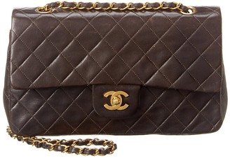Chanel Black Quilted Lambskin Leather Classic 2.55 Medium Double Flap Bag