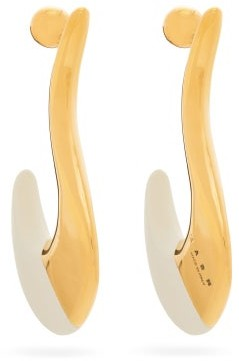 Marni Tipped Curve Earrings - White Gold