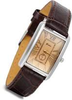 Lancardo Retro Vintage Silver Tone Case Crocodile Pattern Brown Leather Women's Couple Square Watch(Women)