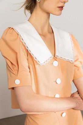 J.ING Agitha Peach Pilgrim Collar Blouse
