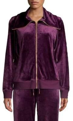 Calvin Klein Zip-Front Velour Jacket