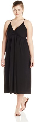 Star Vixen Women's Plus-Size Spaghetti Strap Surplice Maxi Dress