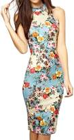 Arctic Flower Summer Floral Printed Sleeveless Slim Fit Midi Sheath Tank Sun Dress