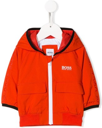 Boss Kids Logo Print Hooded Jacket