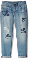 Gap GapKids | Disney Mickey Mouse embroidered girlfriend jeans