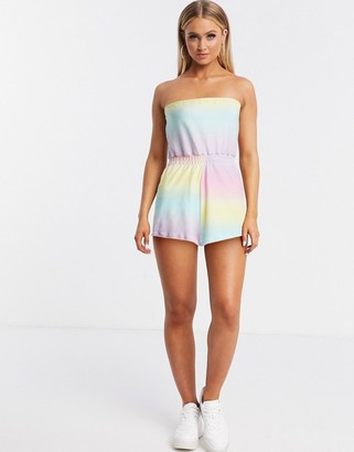 ASOS DESIGN jersey towelling beach playsuit in pastel ombre