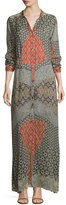 Johnny Was Wish Long-Sleeve Printed Maxi Dress, Multi, Plus SIze