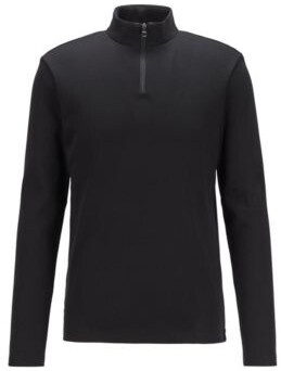 BOSS Slim-fit ribbed T-shirt with long sleeves and zip neck
