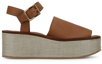 Tod's Leather & Canvas Platform Wedge Sandals
