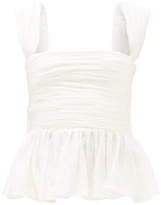 Brock Collection Ruffled-peplum Ruched Cotton-blend Voile Top - Womens - White