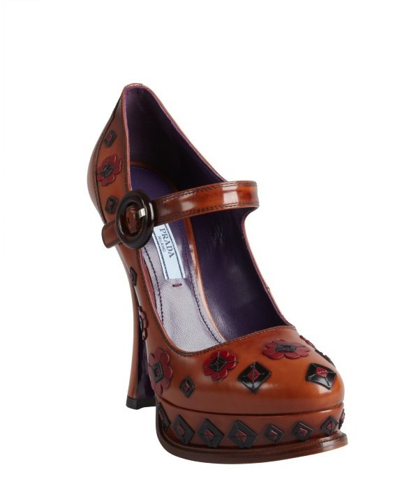 Prada tobacco leather flower and diamond appliqué mary janes