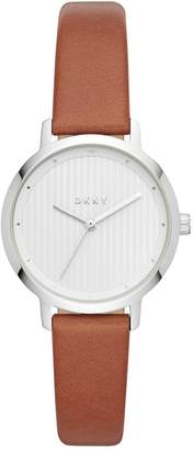 DKNY White Dial Ladies Leather Strap Watch