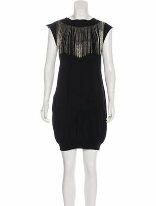 Balmain Embellished Wool Dress Black