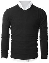 Ohoo Mens Slim Fit Light Weight V-Neck Pullover Sweater/DCP015-M