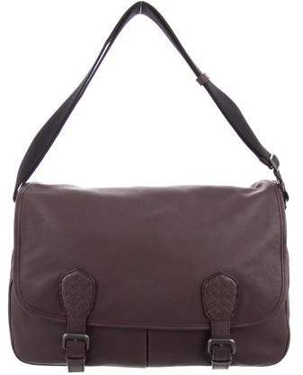 Bottega Veneta Intrecciato-Trimmed Leather Messenger Bag