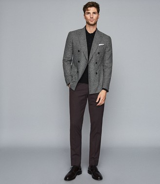 Reiss Grange - Double Breasted Houndstooth Blazer in Grey