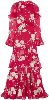 Erdem Evangeline Embellished Embroidered Silk-organza Gown