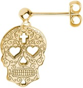Cartergore Gold Sugar Skull with Heart Eyes Single Short Drop Earring