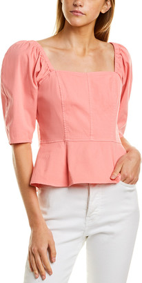 Rebecca Taylor Square Neck Linen-Blend Shirt