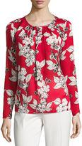 Liz Claiborne Long Sleeve Scoop Neck Woven Blouse-Talls
