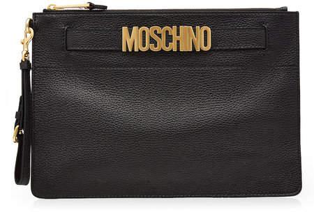 Moschino Logo Embellished Leather Clutch