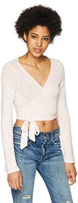 Three Dots Women's eco Knit tie Front Tight Short top