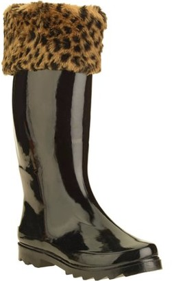 Forever Young Women's Faux Fur Trim Tall Rain Boot