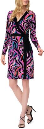 Leota Kara Sequin Long Sleeve Faux Wrap Dress