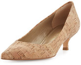 Stuart Weitzman Poco Cork Kitten-Heel Pump, Natural